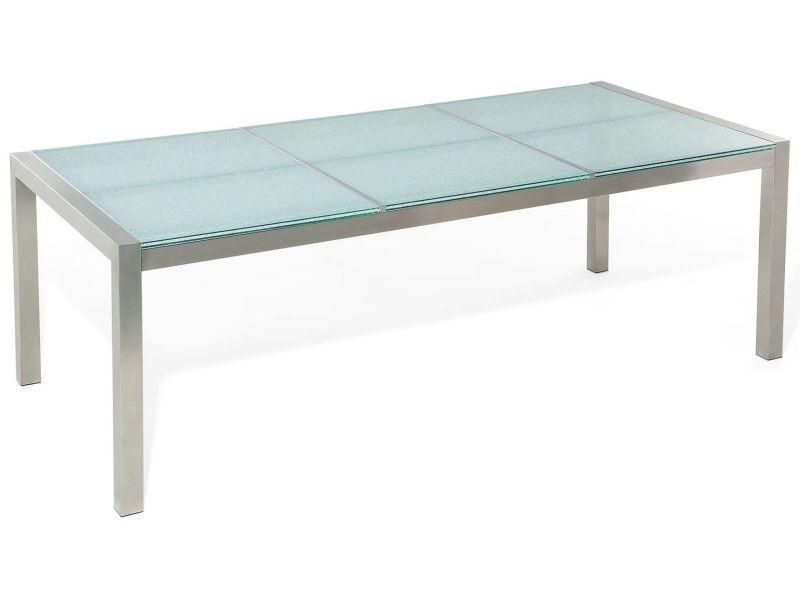Table de jardin 220 cm avec plateau en verre grosseto 53342