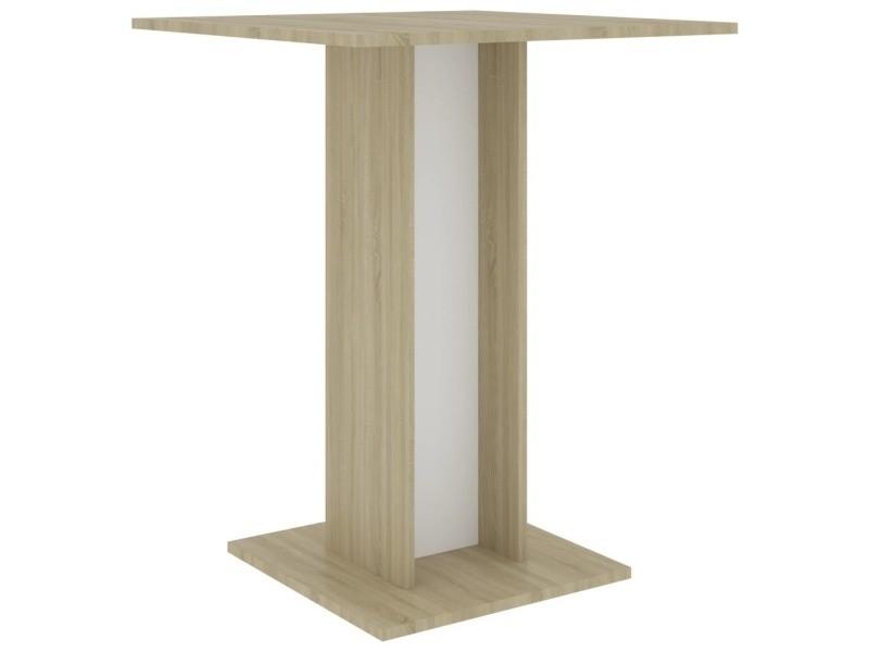 Vidaxl table de bistro blanc et chêne sonoma 60x60x75 cm aggloméré 802107