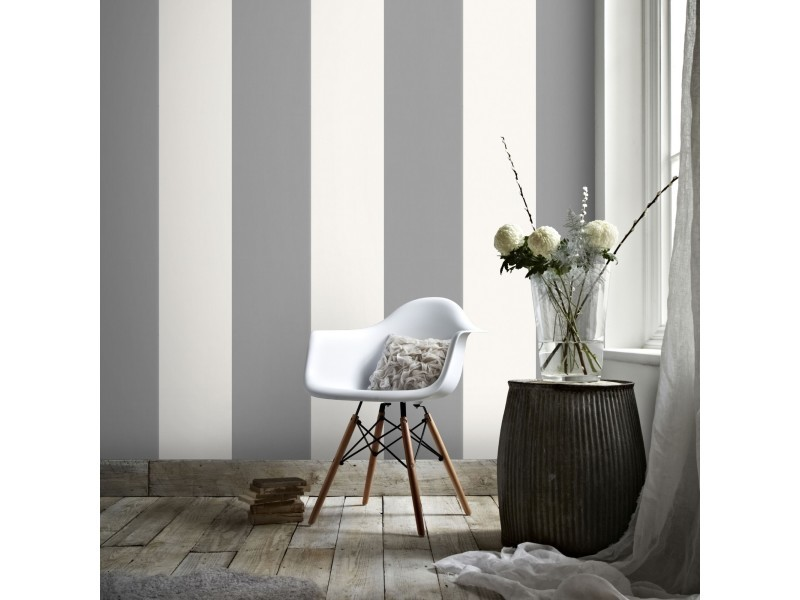 Papier peint intissé lynn rayures 1005 x 52cm gris, crème 33-236