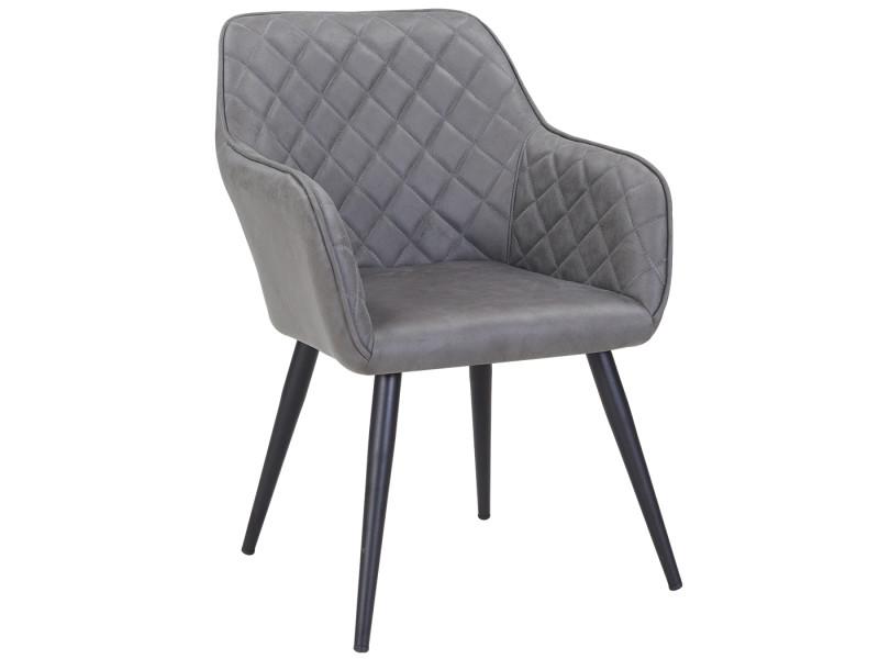 Duhome fauteuil salle à manger aspect en cuir gris foncé design retro avec pieds en metal 8058