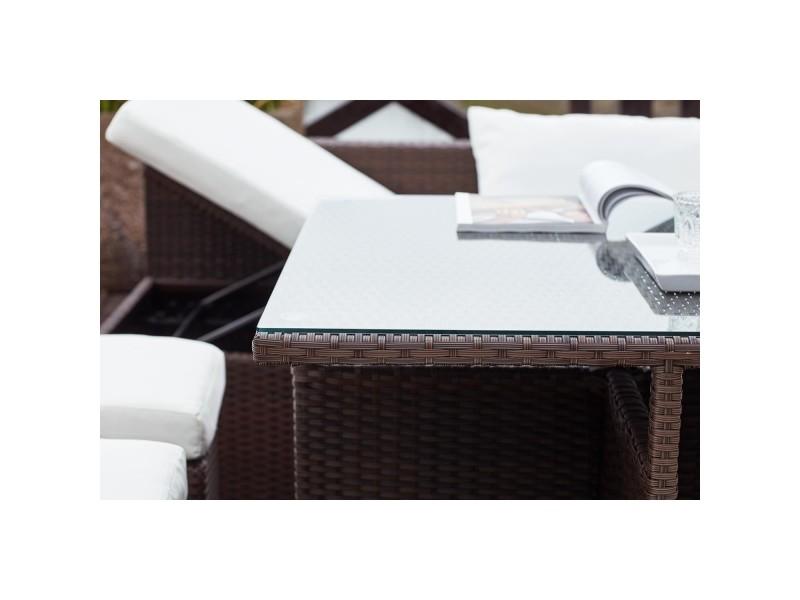 Fidji marron/blanc : salon de jardin encastrable en résine ...