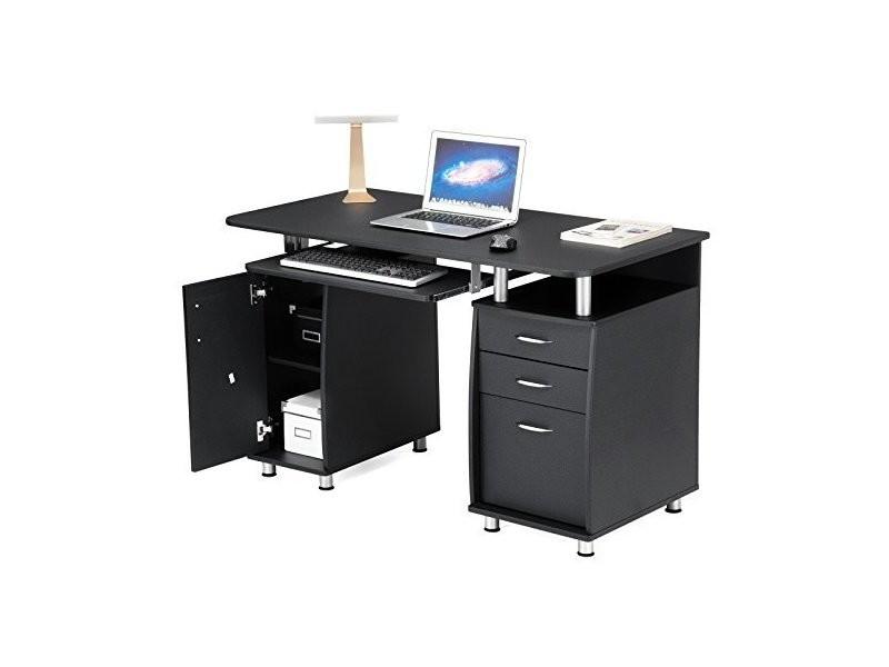 Bureau informatique meuble de bureau pour ordinateur lcd871b noir songmics 3 tiroirs tablette - Meuble pour ordinateur ...