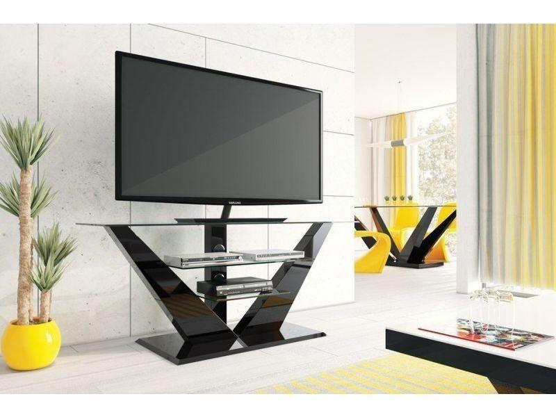 Meuble tv design - couleur : noir laque