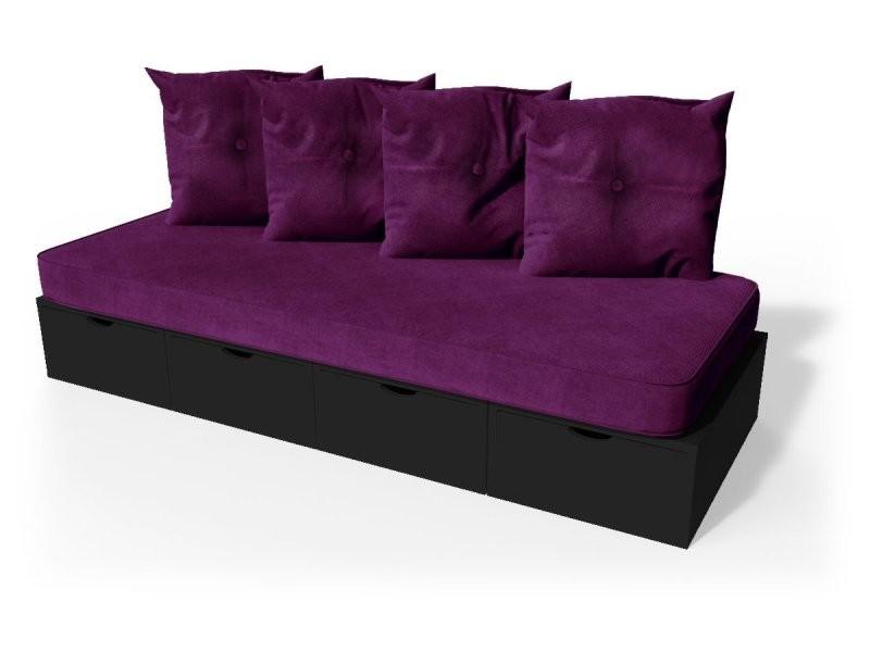 Banquette cube 200 cm + futon + coussins noir BANQ200P-N