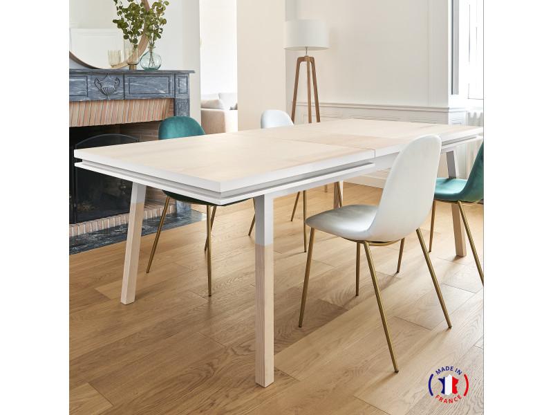 Table extensible bois massif 140x90 cm blanc balisson - 100% fabrication française