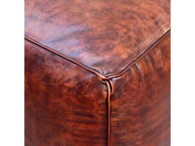 Icaverne - poufs serie pouf cuir véritable carré marron 45 x 45 x 45 cm