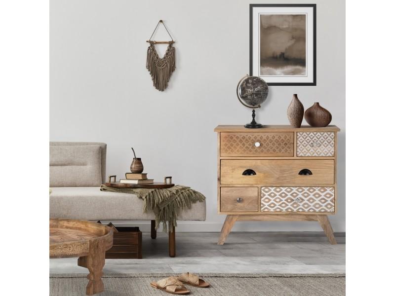 Womo-design commode naturelle, 80x76x40 cm, avec 5 tiroirs, en bois de manguier et mdf 390003212