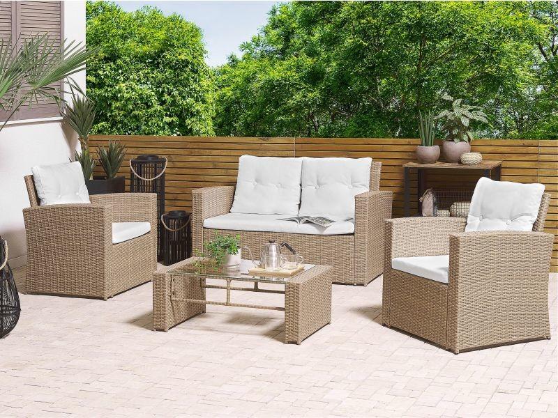 Salon de jardin 4 places en rotin marron clair avec coussins blanc cassé luca 261912