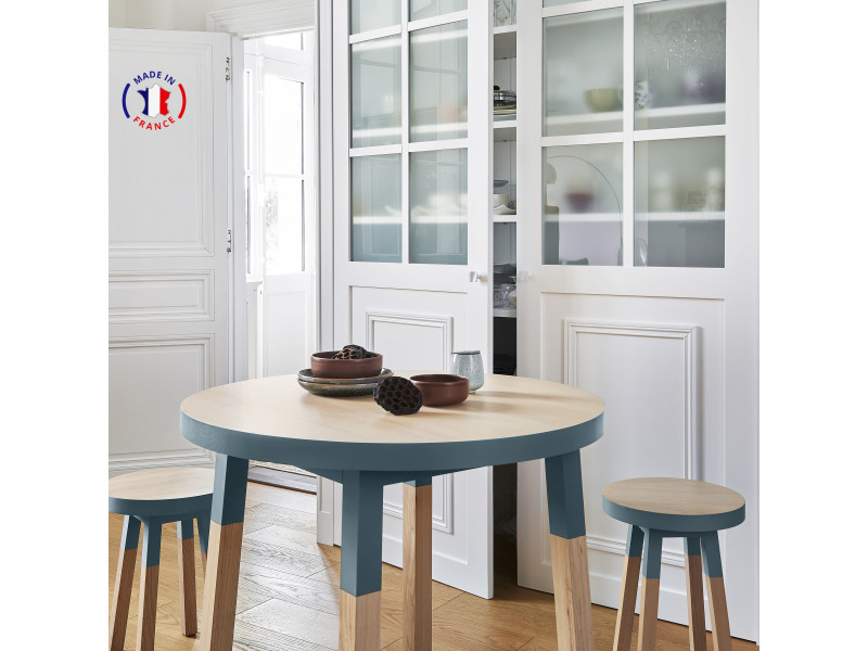 Table ronde 100% frêne massif 100x100 cm bleu frehel - 100% fabrication française