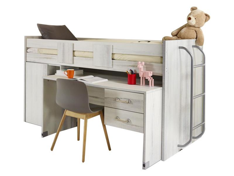 Lit combiné avec un bureau et un lit en hauteur coloris blanc et