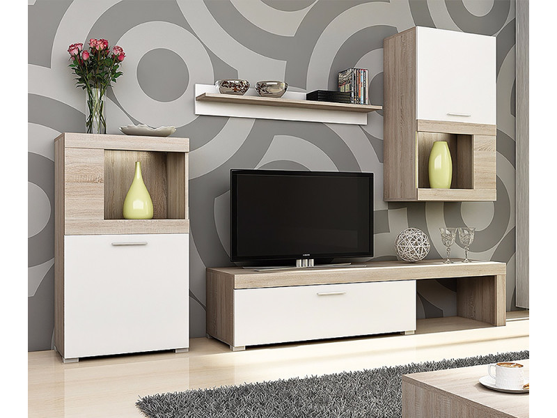 Meuble Tv Mural Complet Flavo 4 Pieces Avec Led Selsey