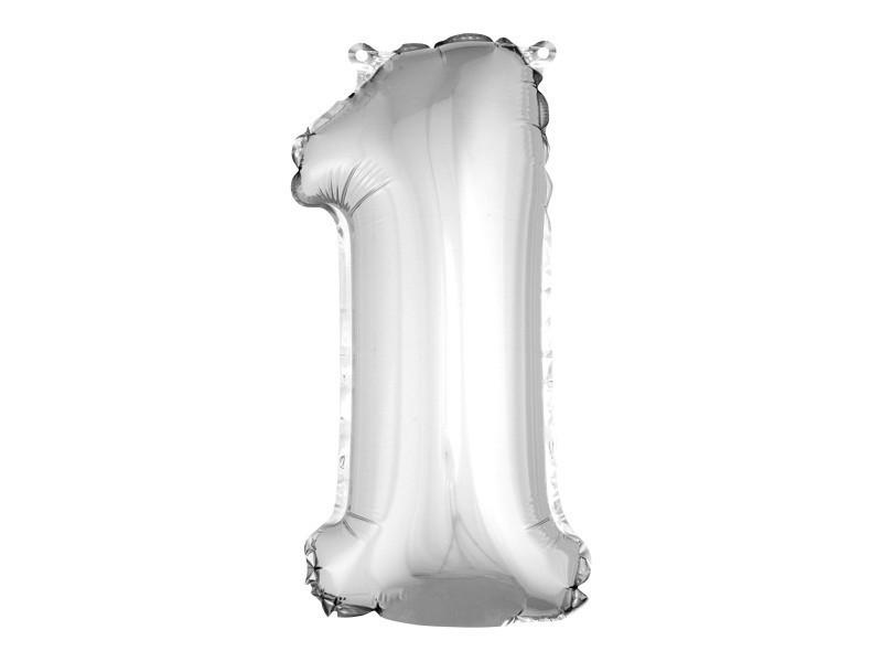 Lot de 12 ballons unis métallisés en aluminium argent chiffre 1 - h 36 cm