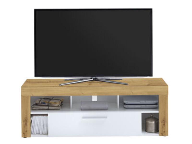 Meuble tv en mdf et panneaux de particules coloris artisan chêne/blanc - dim : l 150 x h 53 x p 41,5 cm -pegane-