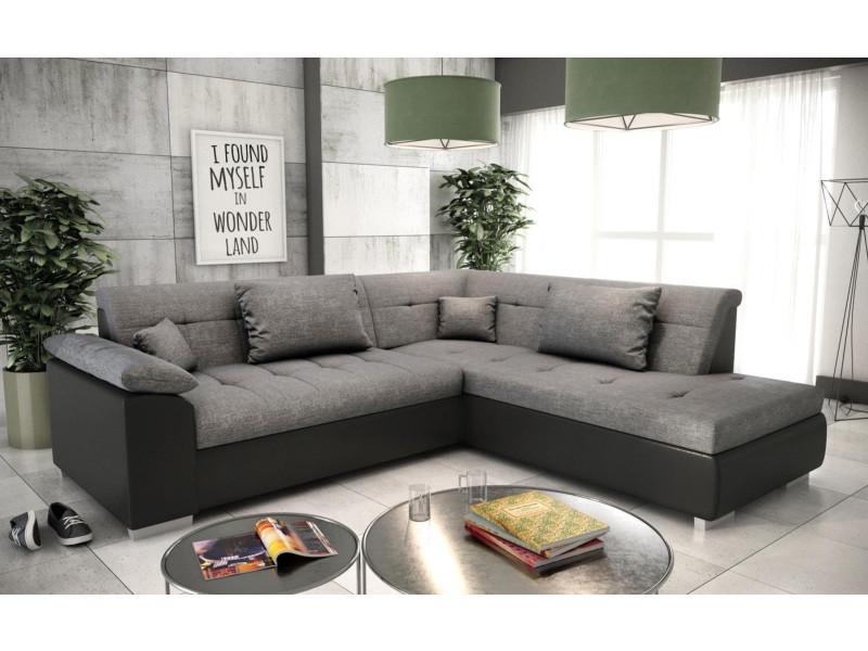 Canapé d'angle convertible lito avec lit en tissu gris et simili cuir noir - angle droit tendencio