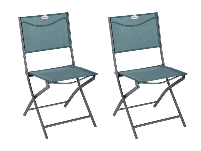 Lot de 2 chaises de jardin pliante métal modula bleu canard/graphite - hespéride