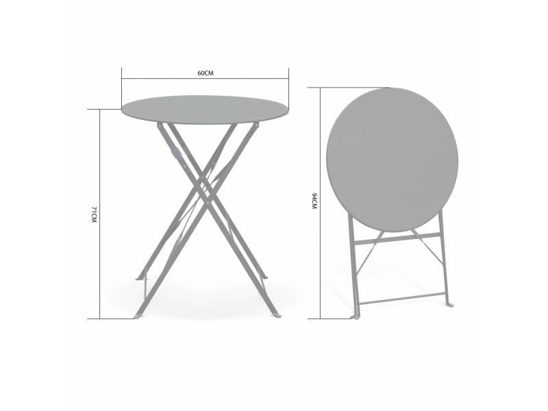 Table de jardin bistrot pliable - emilia ronde verte- table ...