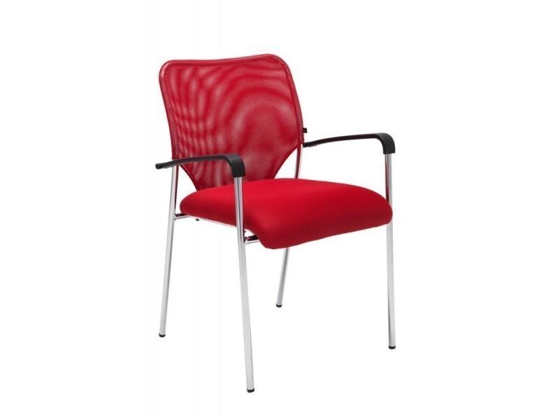 chaise visiteur bureau rouge pieds chrom avec accoudoir bur10037 vente de fauteuil de bureau. Black Bedroom Furniture Sets. Home Design Ideas