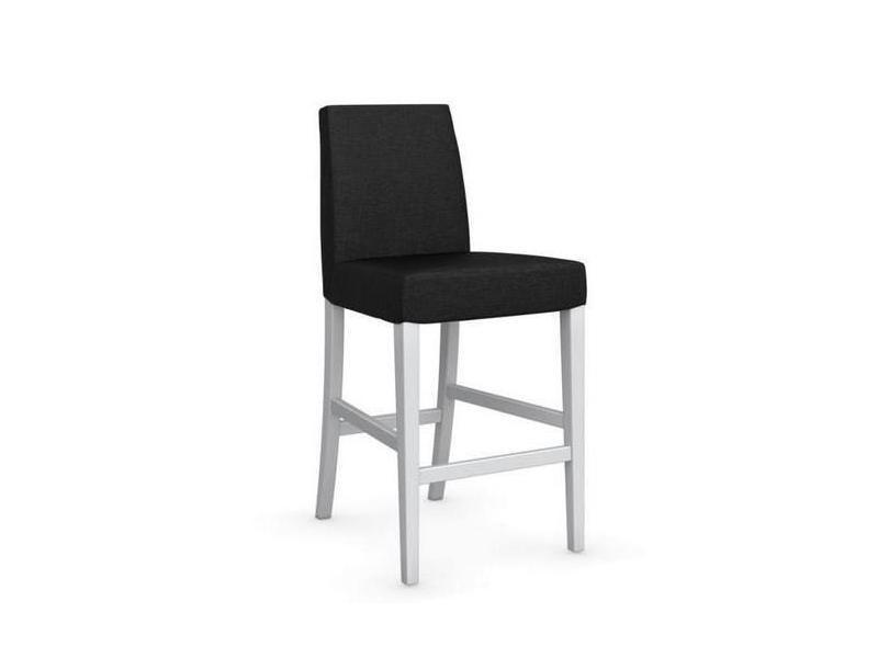 Chaise de bar latina piétement hêtre laqué blanc assise tissu gris anthracite 20100839338