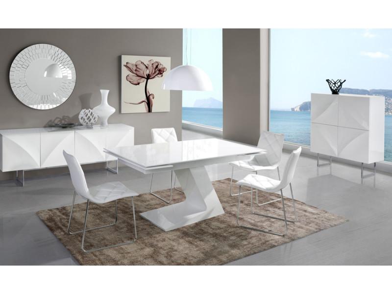 Salle à manger complète blanc laqué design arta - Vente de ...