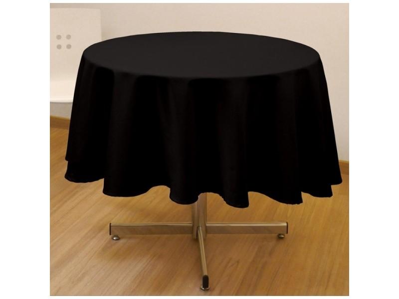 Nappe ronde unie - diamètre 180 cm - noir