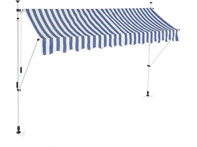 Store banne télescopique de balcon manivelle hauteur réglable résistant uv polyester acier 300 x 120 cm blanc et bleu helloshop26 13_0001620_3