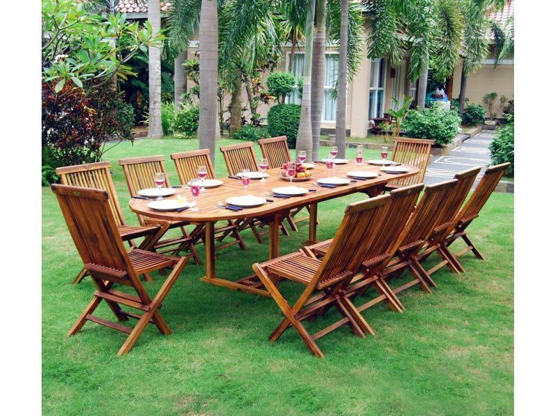 Ensemble salon de jardin en teck huilé 10-12 places - table ...