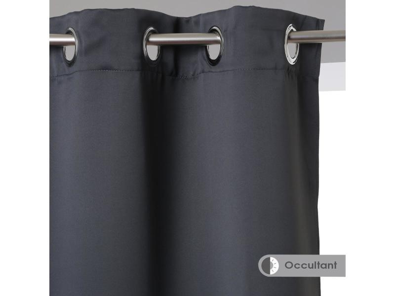 Paire de rideaux occultants coloris gris foncé 135x240cm