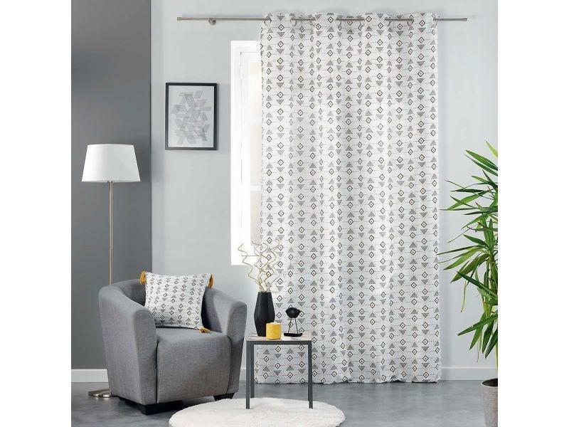 Rideau a oeillets 140 x 240 cm coton imprime letiko blanc 1608615-blanc