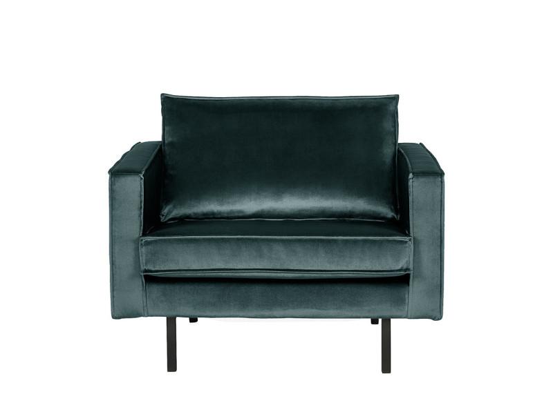 Bronco - fauteuil vintage en velours - couleur - bleu canard 800541-198