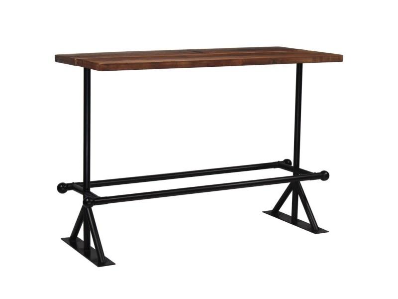 Esthetique tables categorie mogadiscio table de bar bois massif de récupération marron 150x70x107 cm