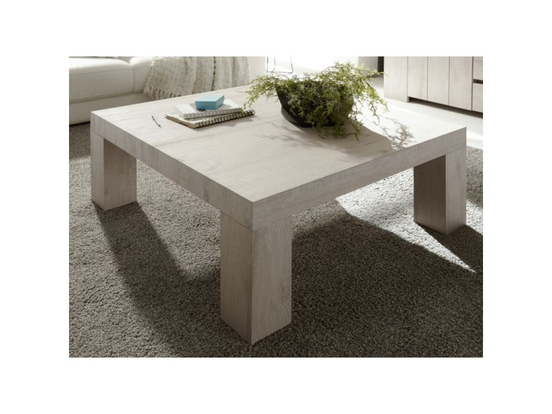 Table basse carrée chêne beige - almati - l 86 x l 86 x h 40 - neuf