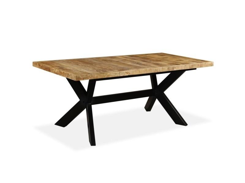 table de 180 Vidaxl table de salle à manger bois de manguier solide et acier 180 cm