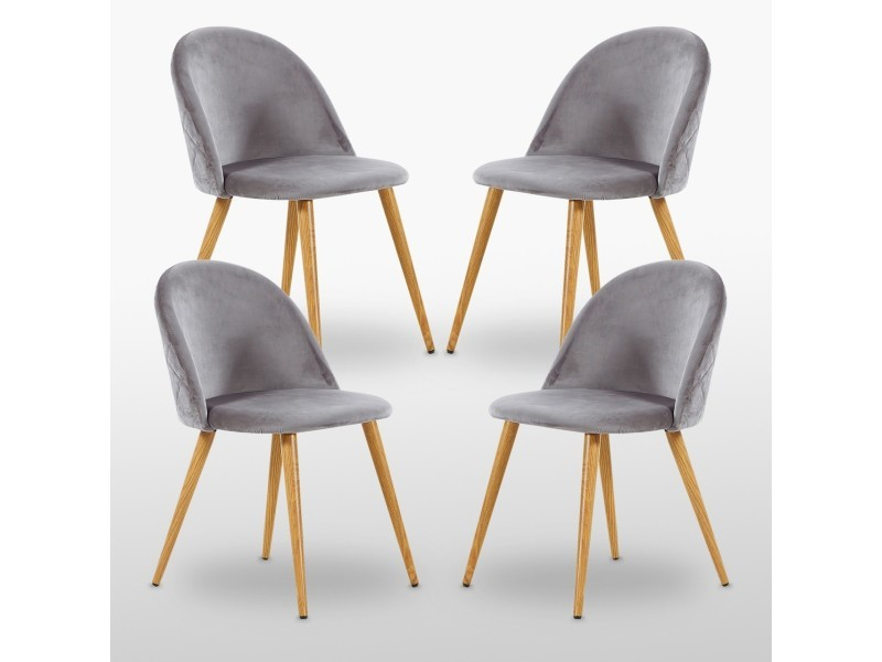 Lot de 4 chaises en velours vintage grises - inspiration scandinave