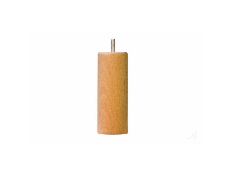 Pied de lit ensemble de 4 pieds de lit cylindrique - vernis bois naturel - d5,4 cm h 15 cm