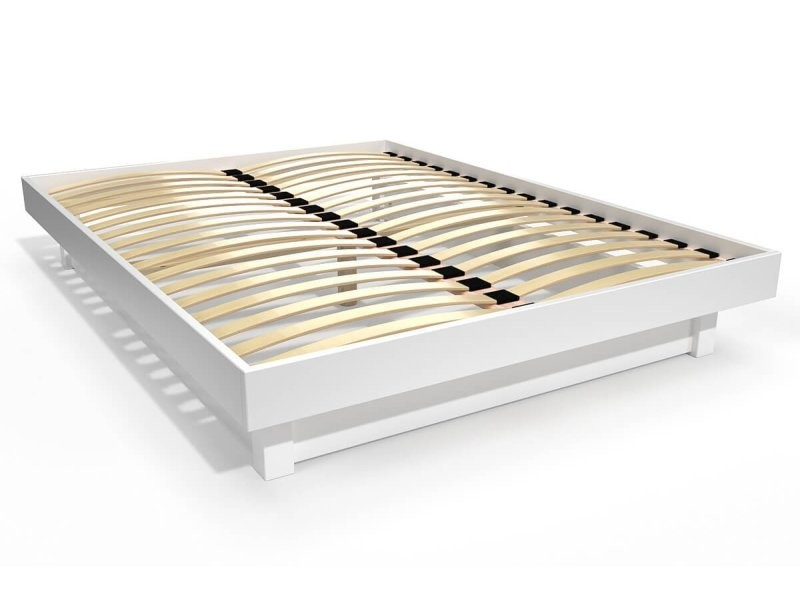 Lit plateforme bois massif pas cher 140x190 blanc PLAT140-LB