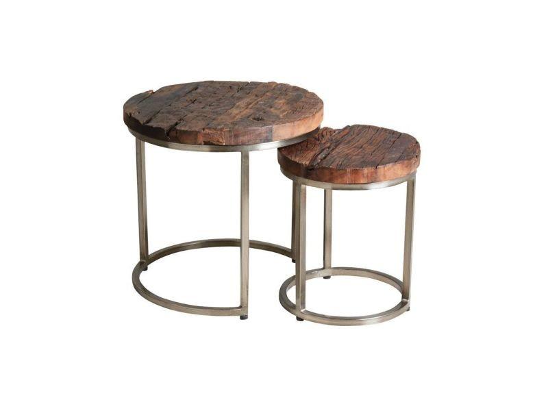 Set 2 tables gigognes en acier et bois massif