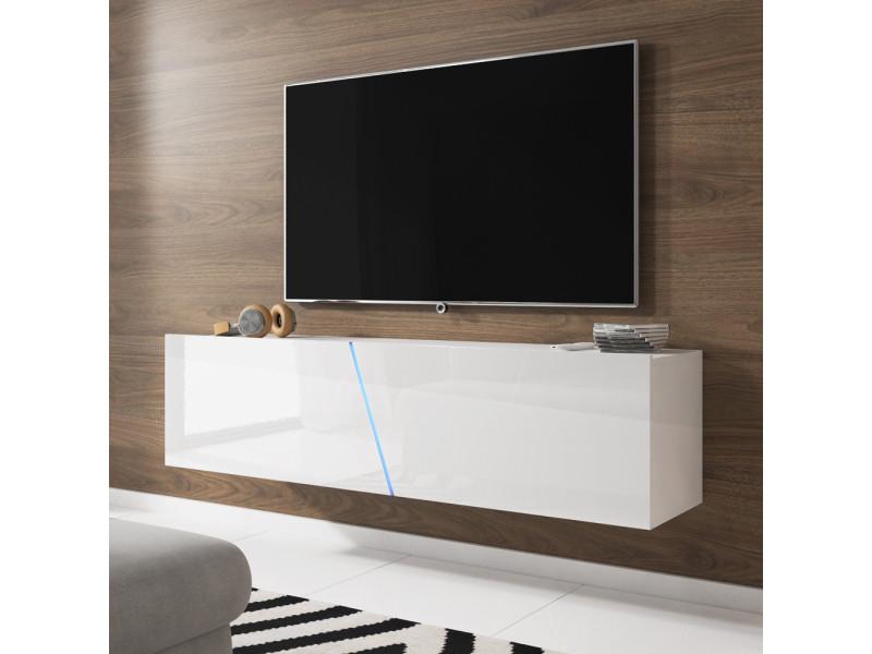 Meuble Tv Suspendu Alamara 160 Cm Blanc Mat Blanc