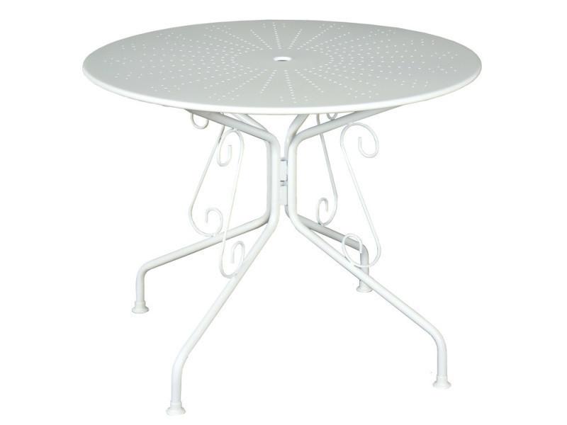 Table de jardin en acier ronde romantique diamètre 95cm agatha blanc ...