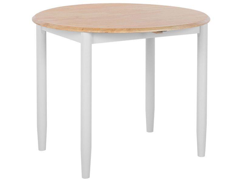 Table ronde en bois marron clair et blanc extensible omaha 146709