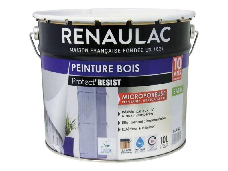 Peinture - vernis - traitement (lasure - effets decoratifs) peinture bois blanc - garantie 10 ans - 10l - 120m² / pôt