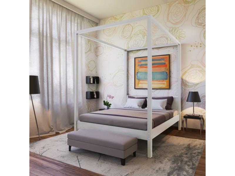 lit double baldaquin romance 160x200 blanchi 130213z. Black Bedroom Furniture Sets. Home Design Ideas