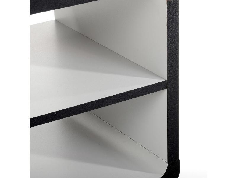 Meuble tv tag re panneau de bois noir gris conforama for Etagere conforama noire
