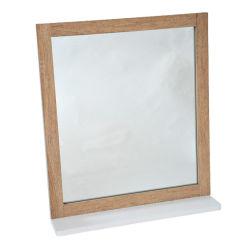 Miroir de salle de bain avec languette de retour bois chene vieilli