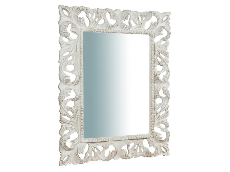 Miroir, long miroir mural rectangulaire, à accrocher au mur, horizontal et vertical, shabby chic, salle de bain, chambre à coucher, cadre finition blanche antique, grand, long, l82xp6xh101 cm. Style shabby chic.
