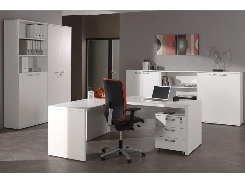 Grande armoire de rangement pour bureau coloris blanc p 12540 co faster vente de accessoires - Grande armoire conforama ...