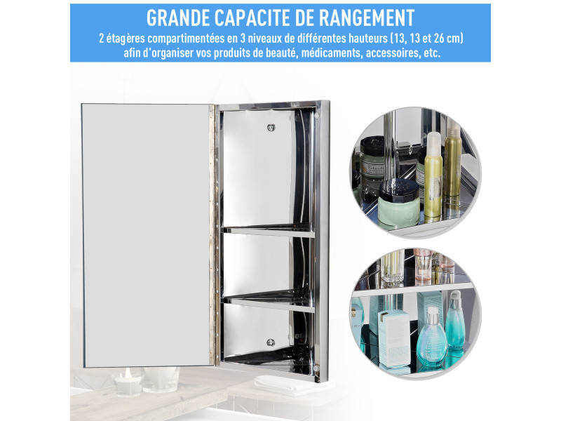 Armoire Miroir Rangement Toilette Salle De Bain Meuble Mural D