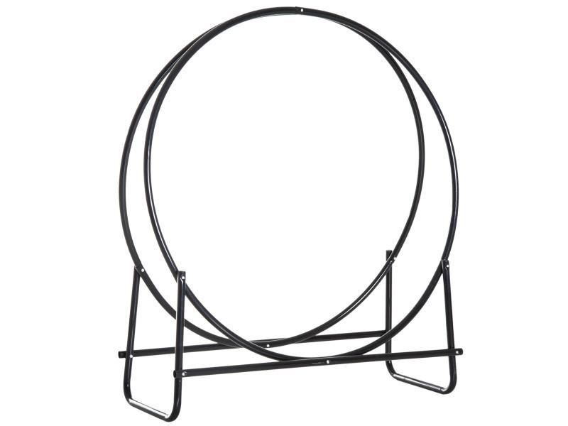 Range-bûches porte-bûches support bois de cheminée design contemporain 102l x 40l x 114h cm métal noir