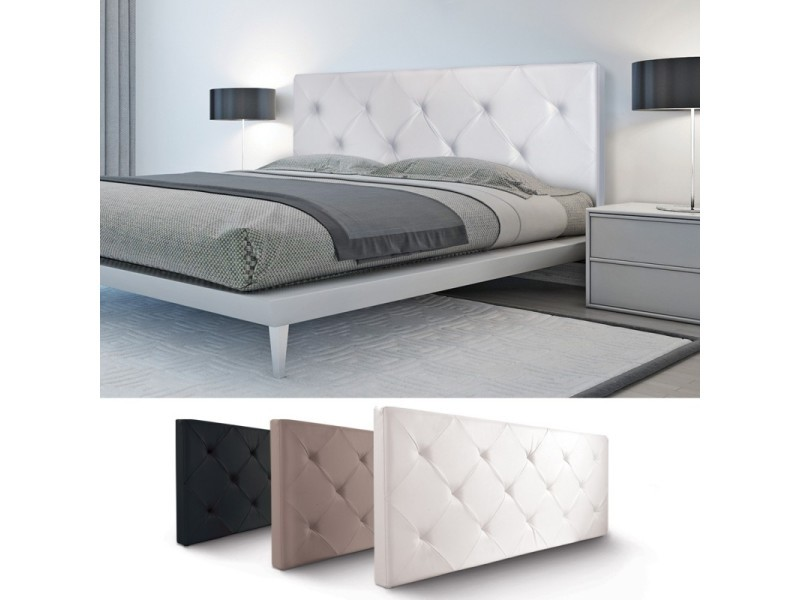 t te de lit capitonn e pvc blanc 160x58 cm vente de id market conforama. Black Bedroom Furniture Sets. Home Design Ideas