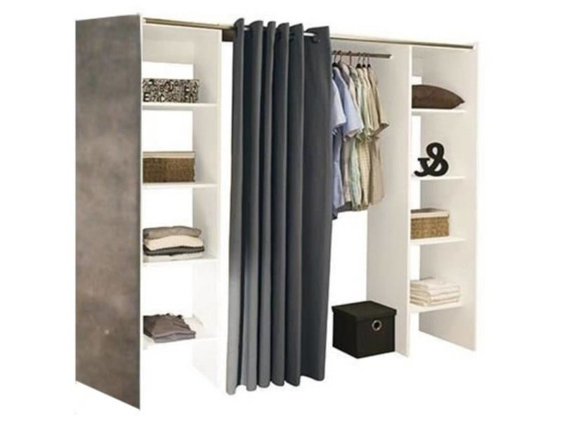 dressing extensible chica 2 colonnes blanc b ton avec. Black Bedroom Furniture Sets. Home Design Ideas