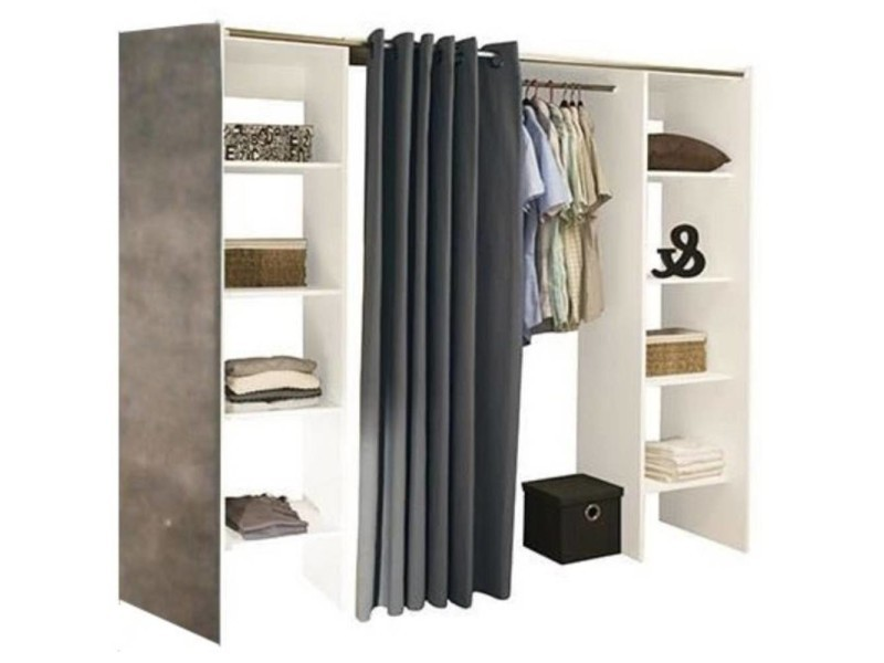 armoire avec rideau tissu armoire blanche portes with. Black Bedroom Furniture Sets. Home Design Ideas